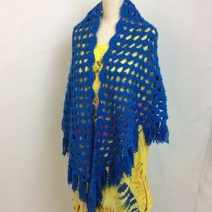 Vintage Crochet Shawl Blue Festival Boho
